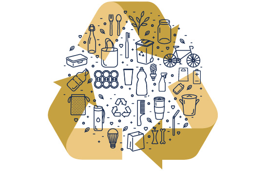 Graphic of recycling symbol with icons of recyclable items on top of it