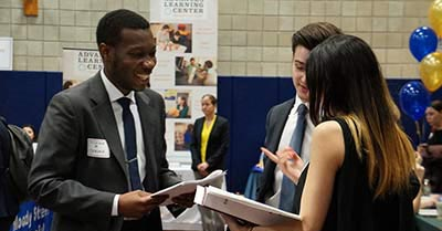 Students interacting at a previous career event