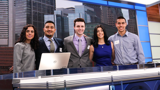 Group of students at the NBC Boston studio in Newton, MA.