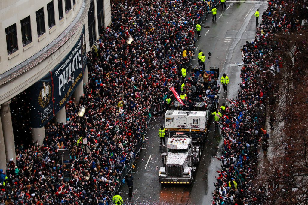 After winning their fifth Super Bowl, the New England Patriots rode through Suffolk's campus on Duck boats during their victory parade.
