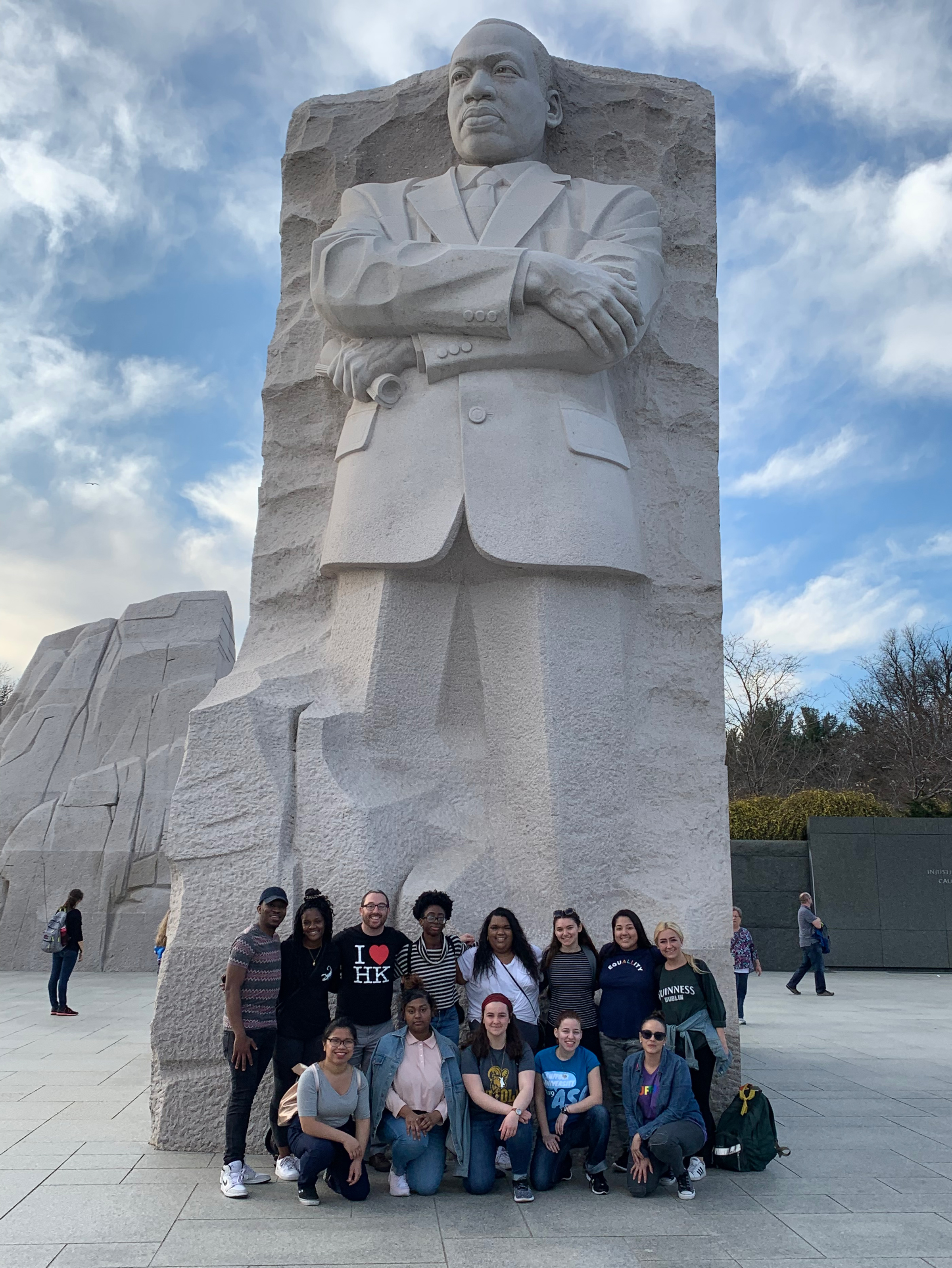 Suffolk students gather in front of the Martin Luther King, Jr. monument in Washington D.C.
