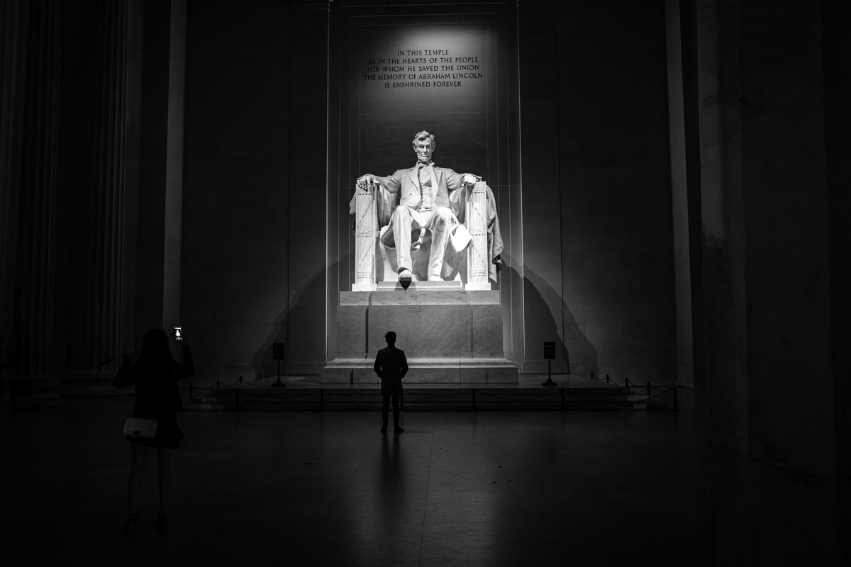 A visitor gazes on the Lincoln Monument during the Journey Program's visit to our nation's capital.