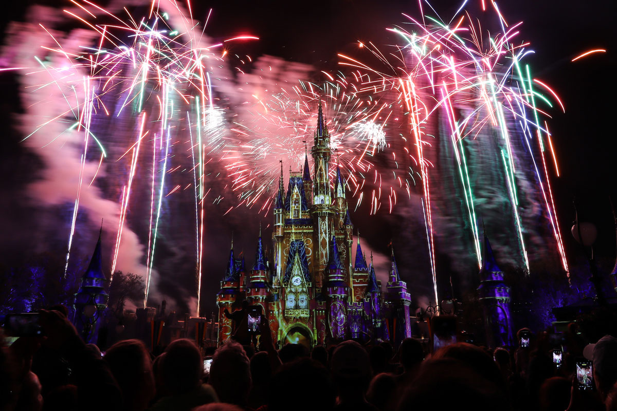 Fireworks exploding on the sides of a caste at Walk Disney World.