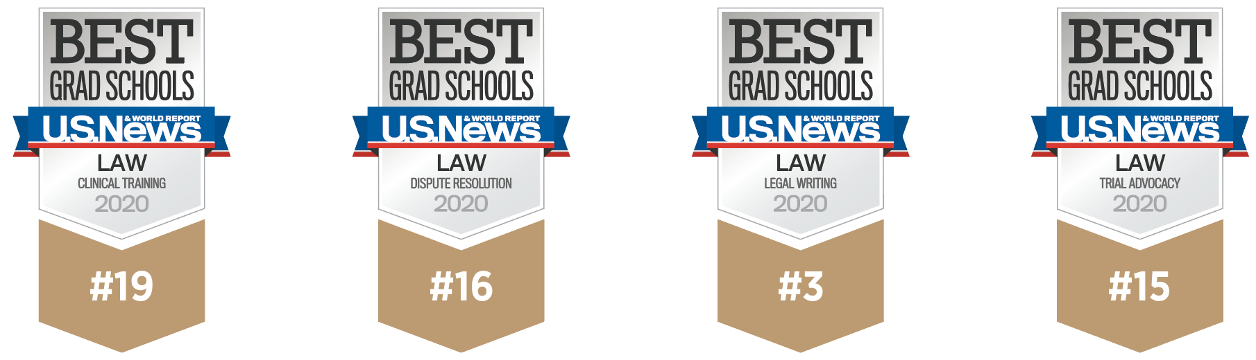 US News & World rankings badges showing Suffolk Law accomplishments