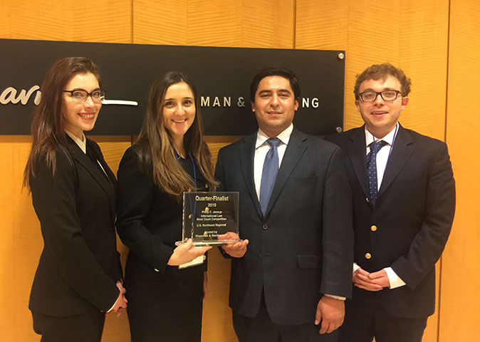 2019 Jessup International Moot Court Competition, Suffolk Law School U.S. Northeast Regional Winners holding award