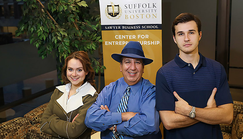 Makena Couture, Domenic Kalil, who teaches entrepreneurship in the Sawyer Business School, and Bruce Sterling Benkhart II