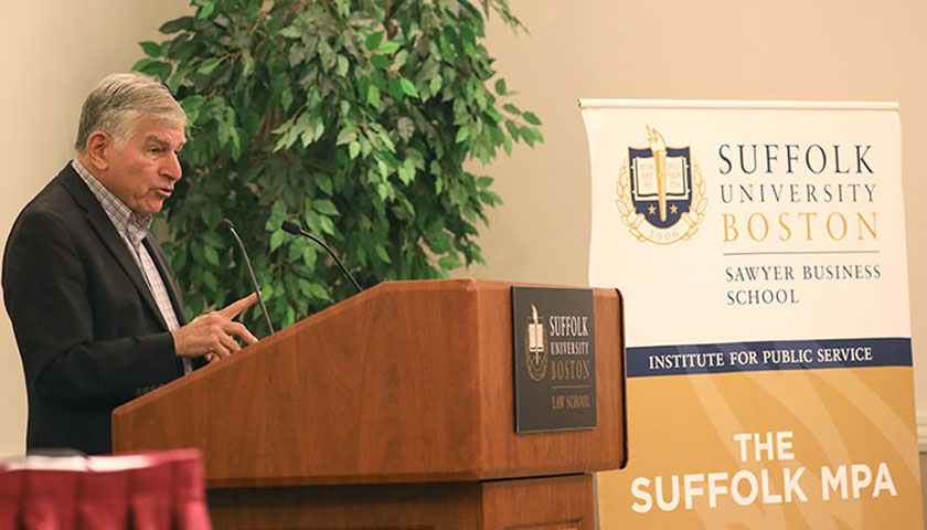 Former Governor Michael Dukakis speaks at Suffolk's 2018 Public Service Symposium.