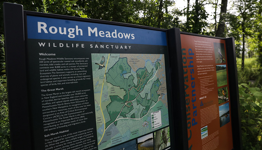 Massachusetts Audubon sign reads Rough Meadows Wildlife Sanctuary