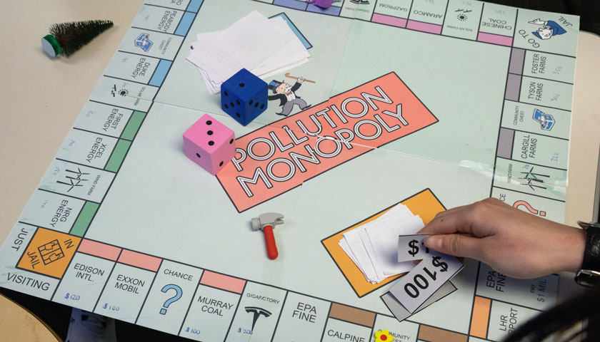 Pollution Monopoly game board