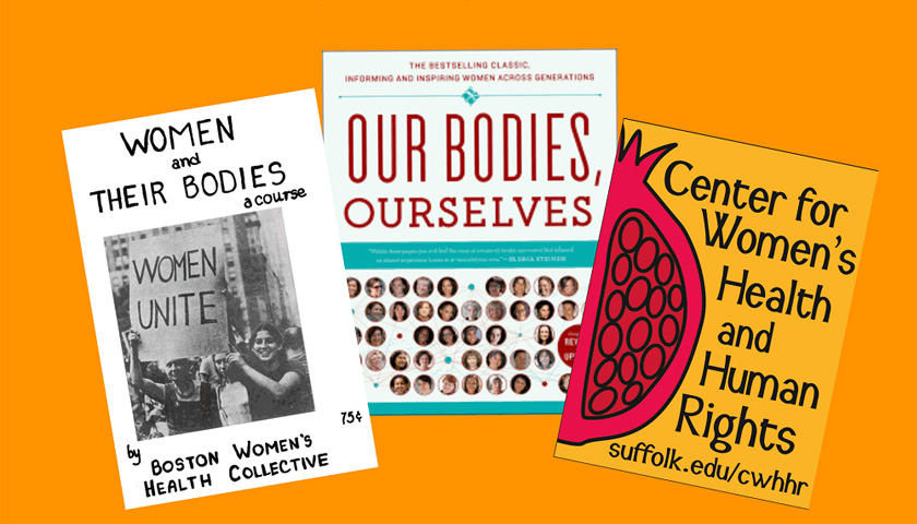 Graphic shows book covers of Women and Their Bodies and Our Bodies Ourselves and a design for the Center for Women's Health and Human Rights