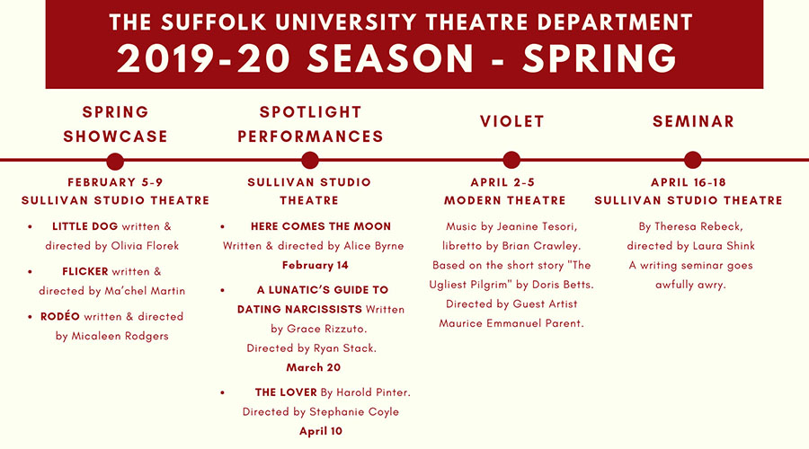 Graphic gives spring theater lineup, repeating all information in text below