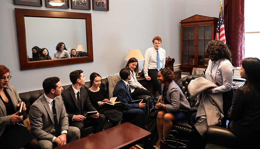 Students meeting with Congressman Joe Kennedy