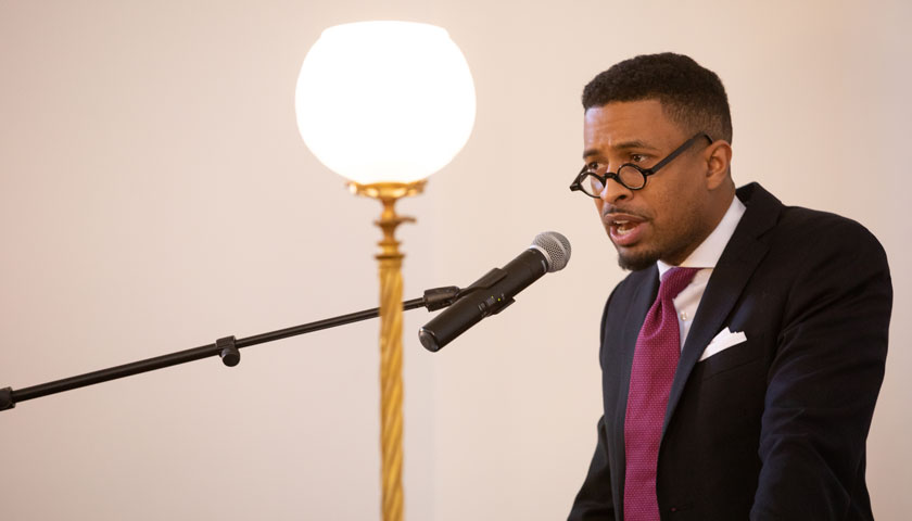 Rev. Brandon Thomas Crowley speaks at the African Meeting House