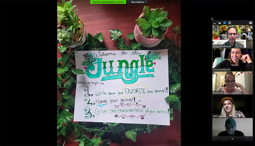Hand-lettered writing prompt titled Jungle